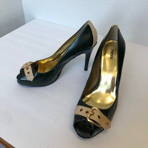 Next patent leather peep toe heels with buckle 10M
